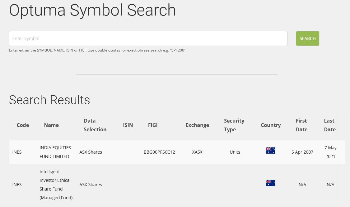 Optuma Symbol Search